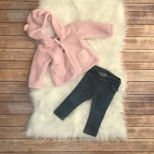 Carters 12M Set- Jeans and Pink Jacket with Ears